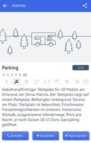 Stellplatz-Beschreibung in der Promobil-App
