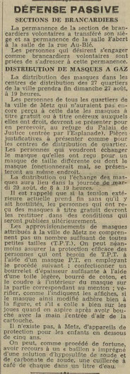 La distribution des masques à Metz - Est Républicain 27 août 1939