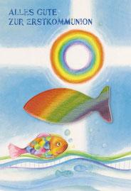 Kommunionkarte Regenbogenfisch Handschmeichler