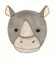 Nashorn Zeichnung Kinderpullover Applikation GOTS