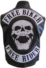 FREE Biker, Free Rider Lederjacke mit Top Patch, Center Patch mit Totenkopf, Screaming Skull und Buttom Free Rider Aufnäher