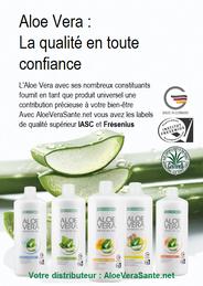Les cinq gels d'aloe vera de LR et des feuilles de la plante | Les Logo Fresenius et IASC