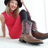 Cowboystiefel, Cowgirlstiefel, Lederstiefel mit Stickerei, Lederstiefel aus Mexiko, Reitstiefel, Reitschuhe, Westernstiefel aus Leder