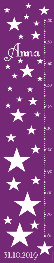 mit Name und Geburtsdatum personalisierbare Kindermesslatte mit Sternen, auf Posterpapier gedruckt oder als Wandaufkleber