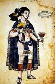Portrait de Nezahualpilli, seigneur de Texcoco. Codex Ixtlilxochitl, XVIIe siècle.