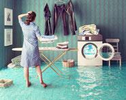 Defekte Waschmaschinen, Muffenversatz, Rohrbrüche und Leckstellen am Gebäuden können zu ungewolltem Wassereintritt ins Gebäude führen und.