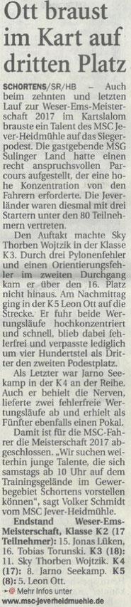 Nordwest Zeitung vom 05.09.2017