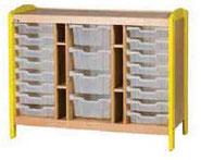 Meuble de rangement à casiers 3 colonnes, mobilier pour petite enfance, assistantes maternelles, RAM à acheter pas cher. Meuble à 3 casiers de rangement de qualité pour les rangements petite enfance.