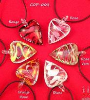 colliers coeurs en verre effet torsadé