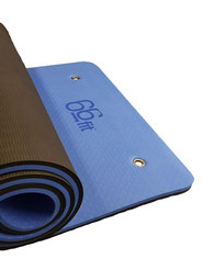 Thick Foam Exercise Mat, Blue/Black, for fitness, Yoga, Pilates