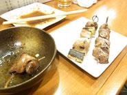 レバーの甘辛煮と串焼き
