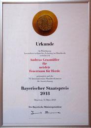 Bayerischer Staatspreis 2018, Feuerraum für Herde