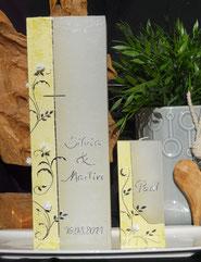 Hochzeitskerze Rosen gelb