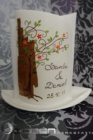 Hochzeitskerze natur Holz Lebensbaum