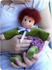 гномочка вулли кукла ручной работы из шерсти трикотажа и хлопка