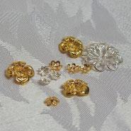 Perlkappen echt vergoldet, Perlkappen echt versilbert, Perlkappen silber, Perlappen gold,
