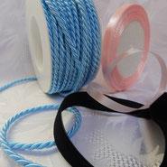 Bänder verschiedene farben, Samtband, Kordeln, Bänder, Satinband einseitig, Satinband,