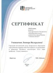 Сертификат от Городского методического центра (2016 г.)