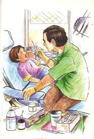 """Pasakojimas pagal paveikslėlių seriją """"Pas dantistą"""""""