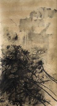盛塘荷22 LONG LOTUS 22 175X93CM 纸本水墨与矿物色 INK & MINERAL COLOR ON PAPER 2012