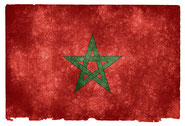 grunge textured flag of Marocco on vintage paper