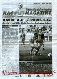 Programme  Le Havre-PSG  2002-03
