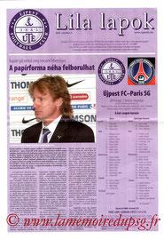 Programme  Ujpest-PSG  2002-03