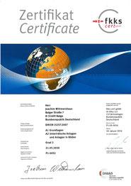 Certificate fkks J. Wittmershaus