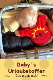 Koffer für das Baby packen.