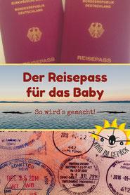 Reisepass für das Baby.