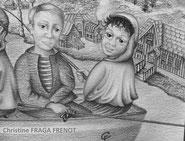 LA PECHE AU CANADA Dessin art naif, deux pecheurs et le capitaine sur un bateau de peche sur le LAC MEMPHREMAGOG À Quebec au Canada, dessin à la mine de plomb sur papier aquarelle signé Christine Fraga Frenot