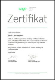 Sage Zertifikat