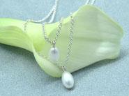 Perlcollier Perlkette Perle Kette 2-reihig Silber Brautschmuck