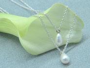 Collier Perle Perlcollier Perlkette Kette 2-reihig Brautschmuck
