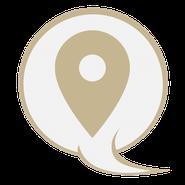 Pin zur Ortskennzeichnung in einer Sprechblase