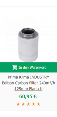 Prima Klima INDUSTRY Edition Carbon Filter 240m³/h 125mm Flansch