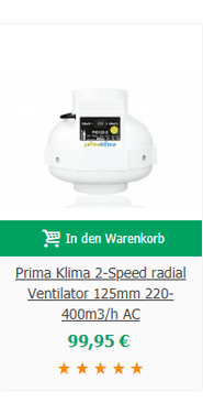 Prima Klima 2-Speed radial Ventilator 125mm 220-400m3/h AC