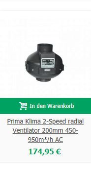 Prima Klima 2-Speed radial Ventilator 200mm 450-950m³/h AC