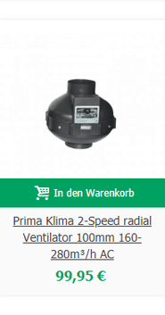 Prima Klima 2-Speed radial Ventilator 100mm 160-280m³/h AC