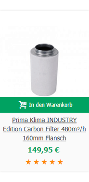 Prima Klima INDUSTRY Edition Carbon Filter 480m³/h 160mm Flansch