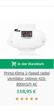 Prima Klima 2-Speed radial Ventilator 160mm 420-800m3/h AC