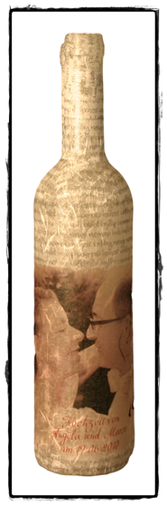 Flasche mit Hochzeitsmotiv