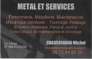 carte visite metal et services