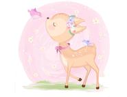 Wandtattoo Wandaufkleber Wandsticker günstig online kaufen  Mädchenzimmer Mädchen Zimmer Kinderzimmer Baby Kind  Reh Bambi Kids Schmetterling süß