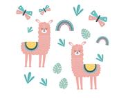 Wandtattoo Wandaufkleber Wandsticker günstig online kaufen  Mädchenzimmer Mädchen Zimmer Kinderzimmer Baby Kind  Lama Alpaka Schmetterling Regenbogen Blatt Blätter Kaktus