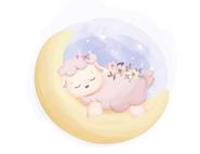 Wandtattoo Wandaufkleber Wandsticker günstig online kaufen  Mädchenzimmer Mädchen Zimmer Kinderzimmer Baby Kind  Mond Schaf Schlafen Nacht Heia