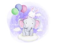 Wandtattoo Wandaufkleber Wandsticker günstig online kaufen  Mädchenzimmer Mädchen Zimmer Kinderzimmer Baby Kind  Luftballon Elefant Hase Wolken Schlafen Gute Nacht