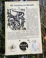 Die Verhaftung des Werwolfs, Wanderweg, Bedburg, Schild 4