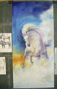 馬をパステルで描く