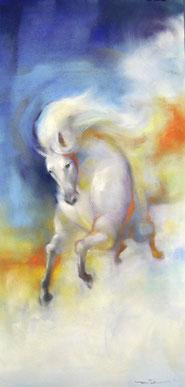 パステルで馬を描く
